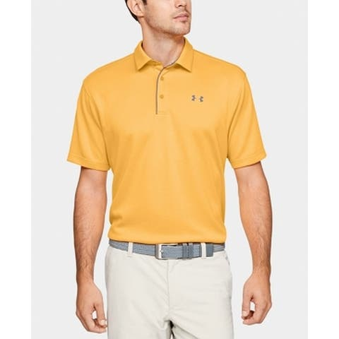 Under Armour Mens Activewear Top Yellow Size Large L Loose Stripe Polo