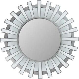 """25.5"""" Sparkling Regal Sunburst Matte Silver Decorative Round Wall Mirror"""