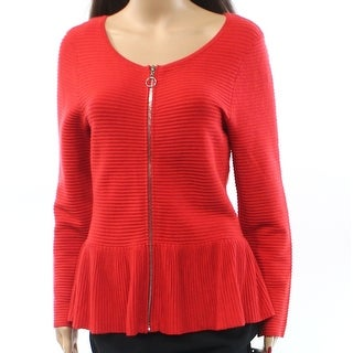 INC NEW Red Zippered Peplum Women's Size Medium M Ribbered Knit Jacket
