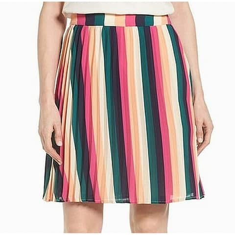 Gibson Green Pink Womens Size PXS Petite Striped A-Line Skirt