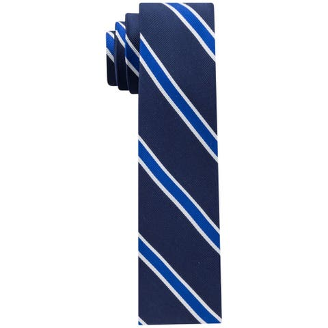 Tommy Hilfiger Mens Stripe Self-tied Necktie, blue, One Size - One Size