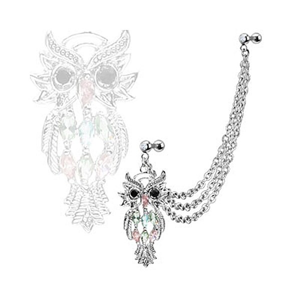 Steel Marquise Owl w/ Gemmed Double Cartilage/Tragus Barbell Multi Chain Linked Dangle (Sold Ind.)