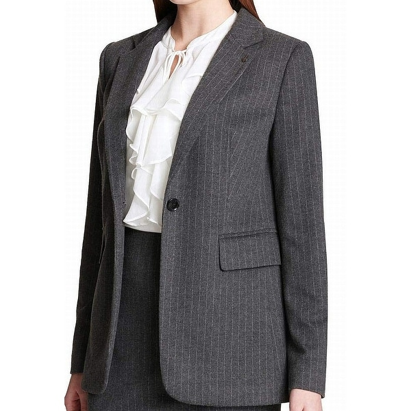 Tommy Hilfiger Women's Suit Jacket Gray Size 6 Blazer Striped 1 Button. Opens flyout.