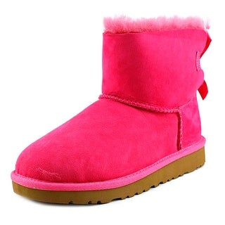 Ugg Australia Mini Bailey Bow Youth Round Toe Suede Pink Winter Boot