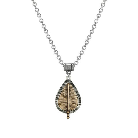 Handmade Boho Textured Teardrop with Stainless Steel Chain Necklace