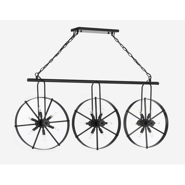Wrought Iron Vintage Industrial Style Spoke Wheel Linear Chandelier Billiard Pool Table Light