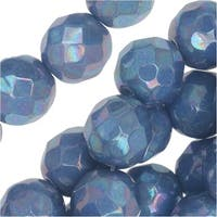 Czech Fire Polished Glass, Faceted Round Beads 8mm, 20 Pieces, Blue Turquoise Nebula
