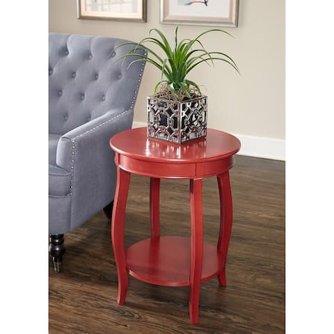 Powell Seaside Red Round Table with Shelf