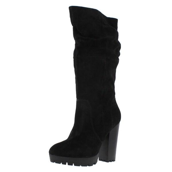 Steve Madden Womens Gangstar Knee-High Boots Suede Slouchy