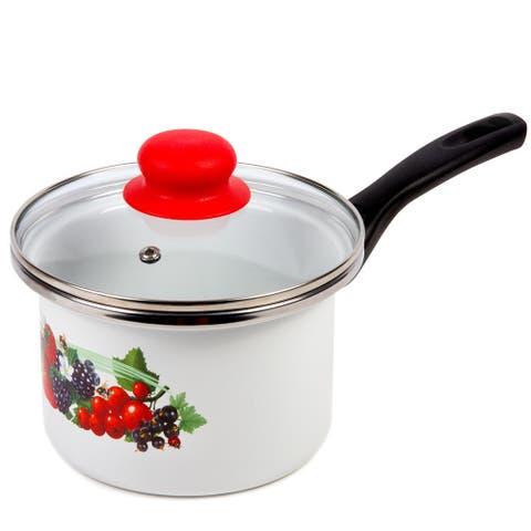 STP Goods Berries Enamel on Steel 1.6-quart Saucepan w/Lid