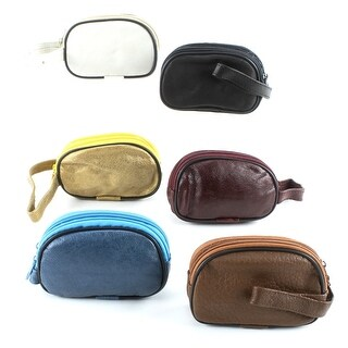 Leather 1/2 Moon Double Zip Coin Purse