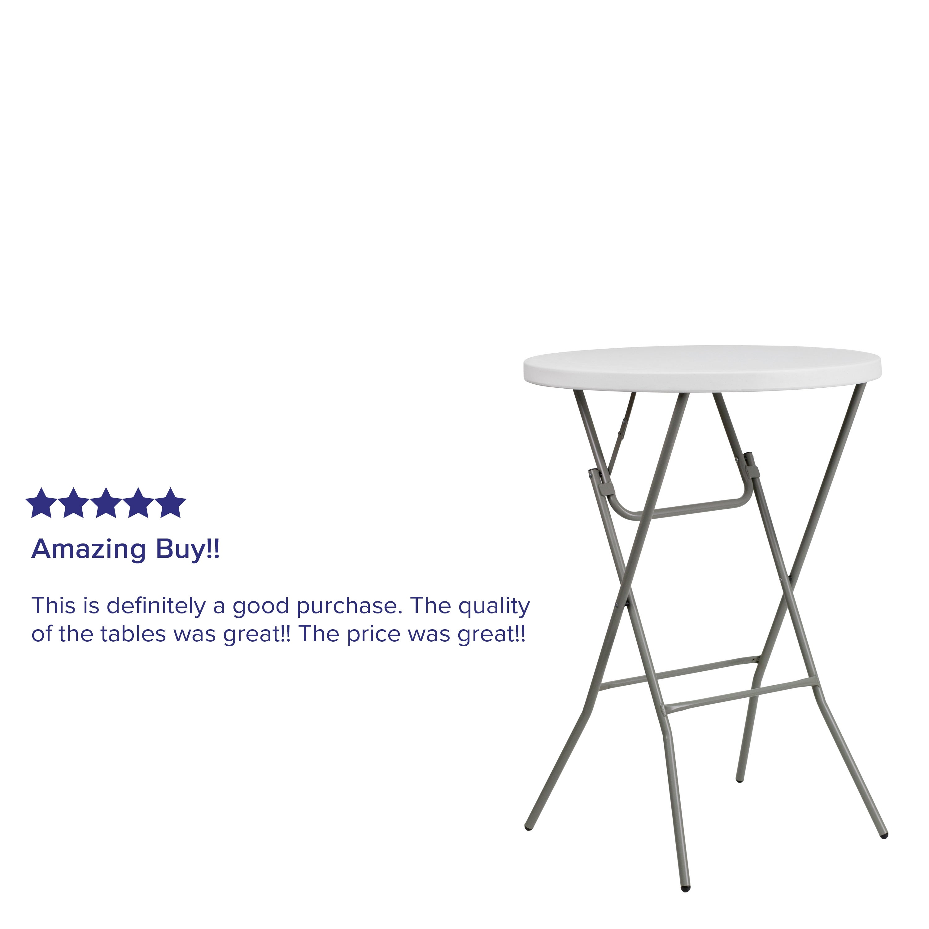 - Shop 3-Foot Round Granite White Plastic Bar Height Folding Table