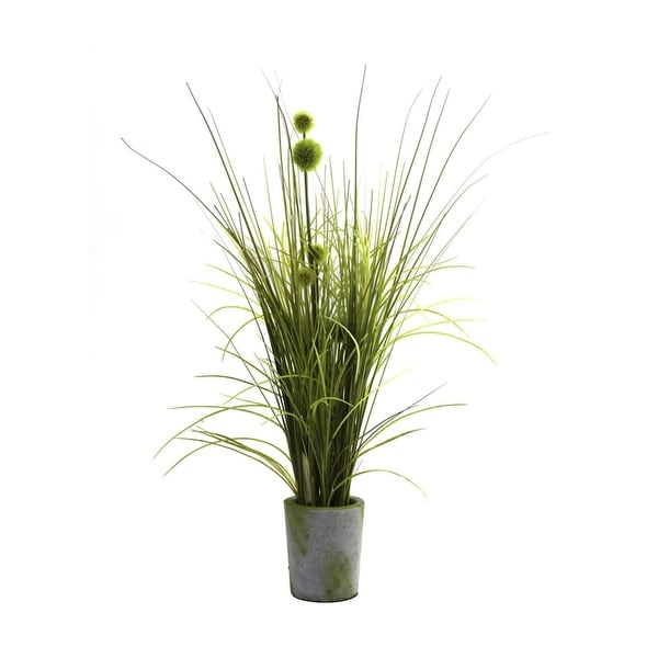 Nearly Natural Grass & Dandelion with Cement Planter