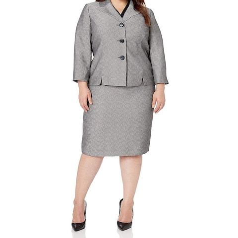 Le Suit Women's Skirt Suit Black Gray Size 4 Textured Notch Collar