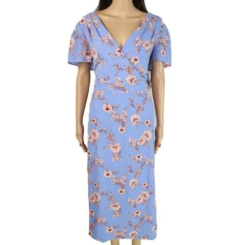 Lauren by Ralph Lauren Womens Dress Blue Size 16 Shift Surplice Floral