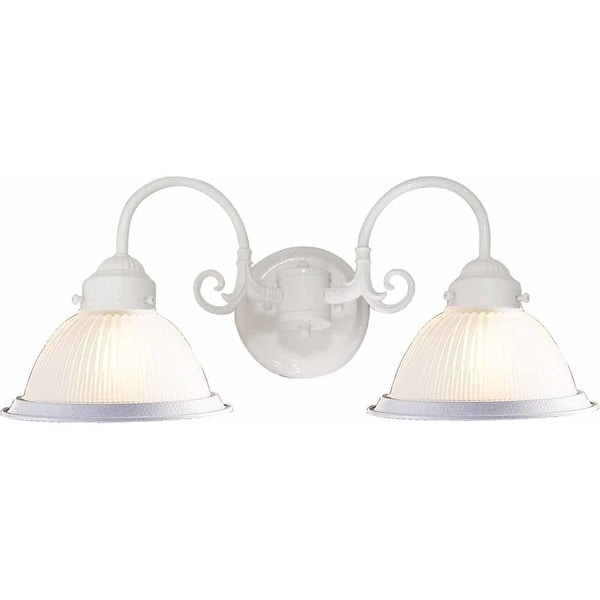 "Volume Lighting V4702 2-Light 21"" Width Bathroom Vanity Light with Clear Ribbed Glass Dome Shade"