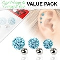 3 Pcs Value Pack of Assorted 316L Tragus Bar with Aqua Ferido Ball - Thumbnail 0