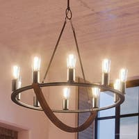 "Luxury Nautical Chandelier, 27.5""H x 28""W, with Industrial Style, Walnut Stained Wood, Royal Bronze Finish"