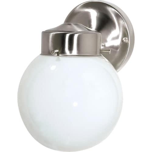 "Nuvo Lighting 76/705 Single Light 6"" Porch Light with White Globe Shade"