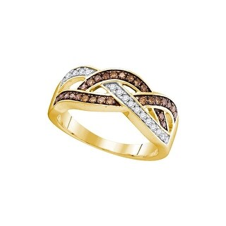 10kt Yellow Gold Womens Round Cognac-brown Colored Diamond Crossover Band Fashion Ring 1/3 Cttw - Brown/White