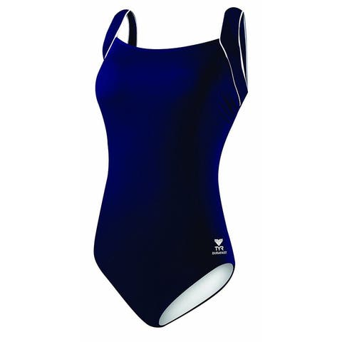 TYR Sport Women's Polyester Solid Square Neck Tank Swimsuit Sz 18