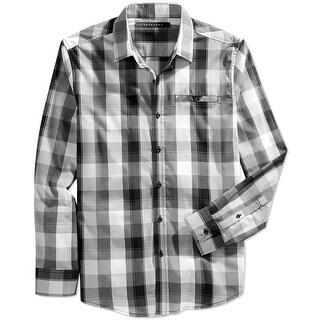 Sean John NEW Gray Black Mens Size Medium M Check Button Down Shirt