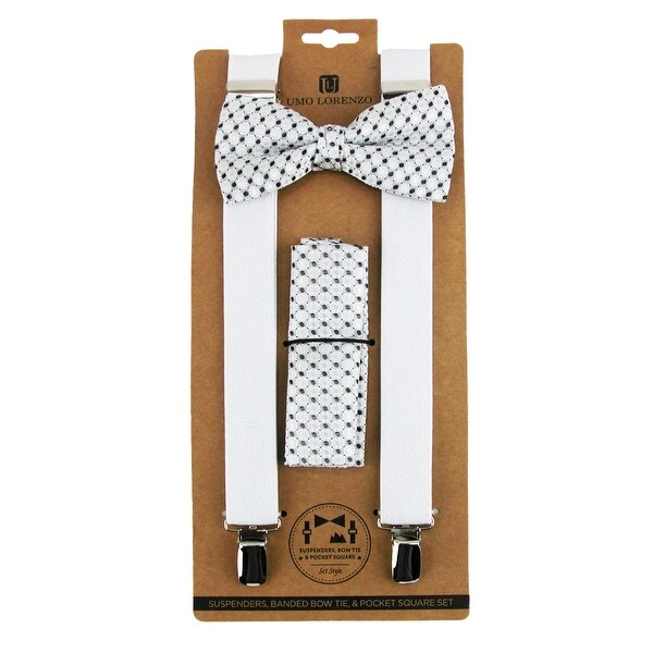 Umo Lorenzo Men's Dress Bow Tie Handkerchief & Clip-End Suspender Set - One size