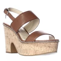 Coach Quartz Blackform Semi Wedge Slingback Sandals , Saddle