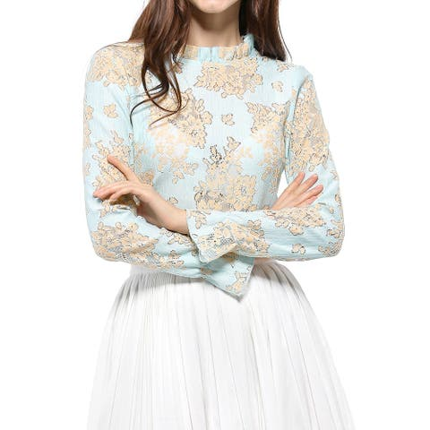 Womens Chroect Lace See Through Floral Color Block Blouse