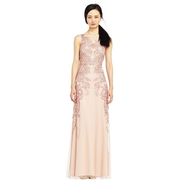 5ccc7f56c2219 Shop Adrianna Papell Vine Beaded Dress Illusion Back, Rose Gold, 16W - Free  Shipping Today - Overstock - 23579691