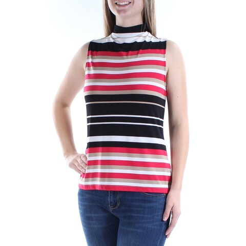 Womens Red Striped Sleeveless Turtle Neck Casual Top Size L