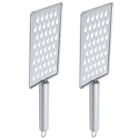 """Stainless Steel Cheese Chocolate Grater Flat Vegetable Grater 2pcs - Silver Tone - 10.2"""" x 3.3"""""""