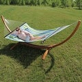 Sunnydaze Wooden Curved Arc Hammock & Hammock Stand, 12 Feet Long, 400 Pound Capacity - Thumbnail 2