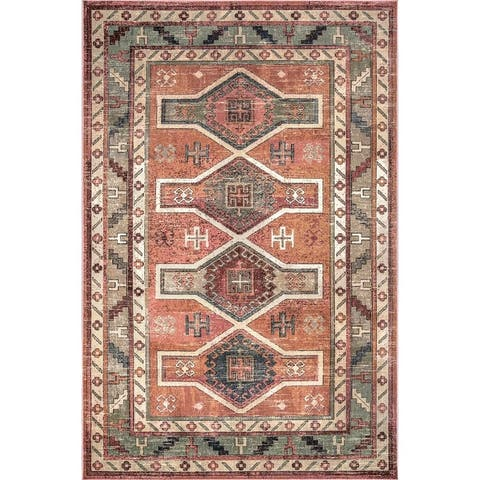 nuLOOM Southwestern Persian Chay Aztec Cameo Framing Geo Border Area Rug