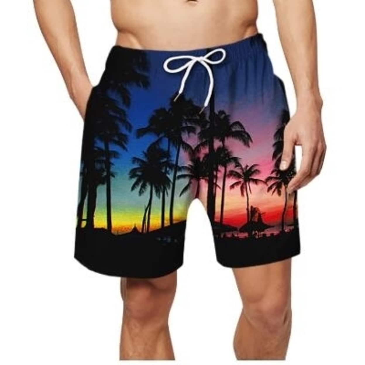 LONGTA Men Swim Trunks Drawstring Elastic Waist Surfing Beach Board Shorts