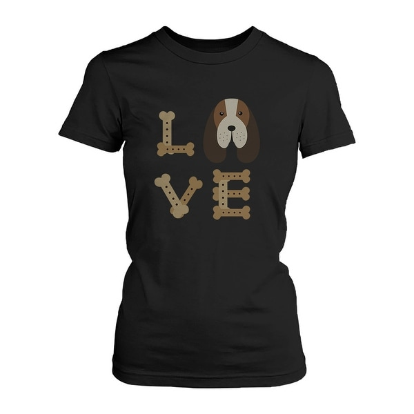 Basset Hound LOVE Women's T-shirt Cute Tee for Dog Owner Puppy Print Shirt