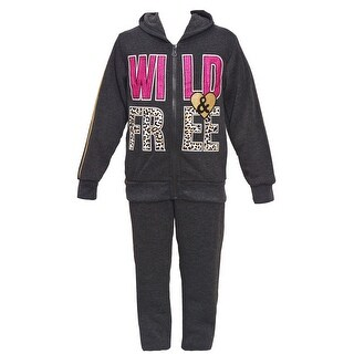 "Girls Pink Little Girls Charcoal ""Wild & Free"" Hooded Top 2 Pc Pant Set 4-6X"