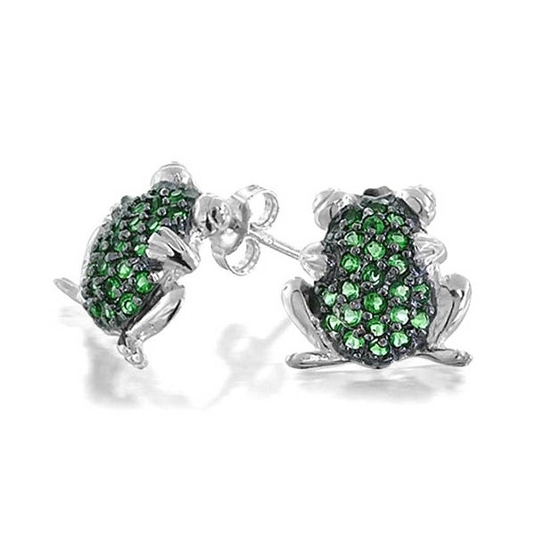 6765d4e81 Shop Garden Green Frog Todd Cubic Zirconia Pave CZ Stud Earrings For Women  For Teen 925 Sterling Silver - On Sale - Free Shipping On Orders Over $45  ...
