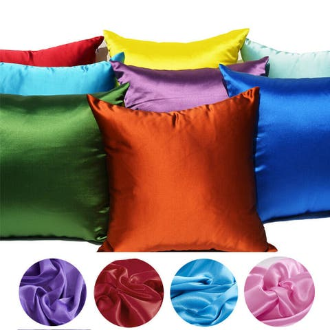 Home Decor Pillow Covers Satin Zippered Pillow Case Cushion Cover Colored Solid Pillowcase Decorative Bedding Soft Cushion Case