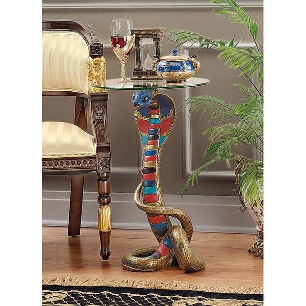 Design Toscano Renenutet Egyptian Cobra Goddess Glass-Topped Table