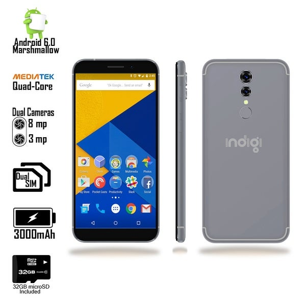 "Indigi 2018 GSM UNLOCKED 4G LTE 5.6"" Android 6 SmartPhone [2SIM + QUAD-CORE + Fingerprint Scanner] Black + 32gb microSD"