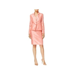 Le Suit Womens Skirt Suit Shantung 2PC