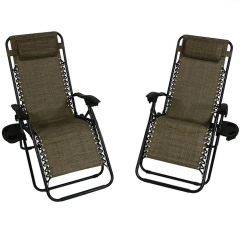Sunnydaze Dark Brown Oversized Zero Gravity Lounge Chair, Set of 2