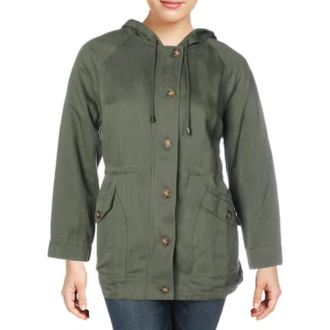 Sanctuary Womens Plus Commodore Anorak Jacket Hooded Lightweight - Peace Green - 1X