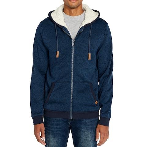 Buffalo David Bitton Mens Sweater Blue Size M Sherpa Zip-Up Hoodie