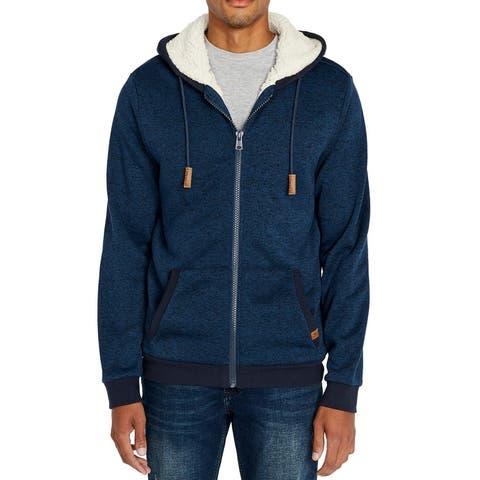 Buffalo David Bitton Mens Sweater Blue Size Medium M Sherpa Hooded