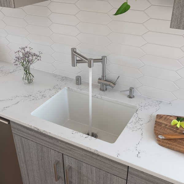 Alfi Brand Ab2418ud 24 White Undermount Drop In Fireclay Kitchen Sink Overstock 31138938