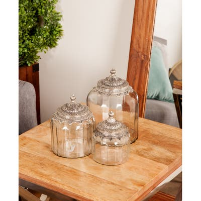 Set of 3 Traditional 6, 7, and 9 Inch Glass and Metal Canisters