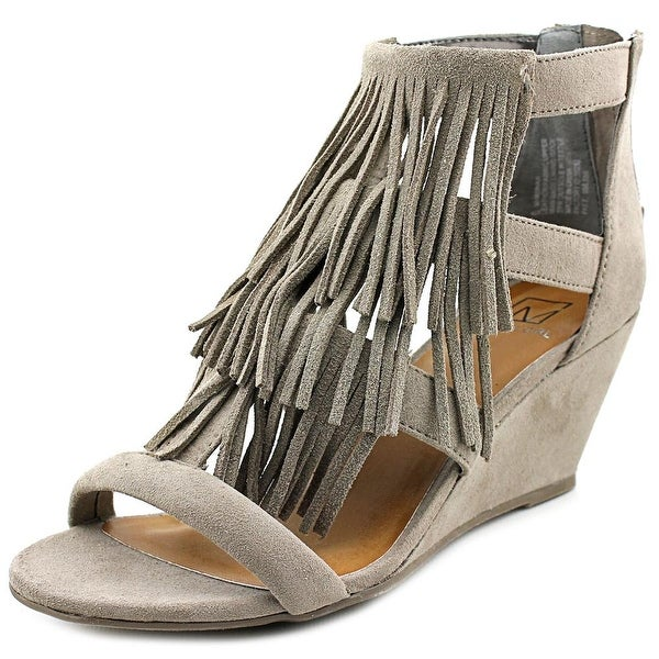 Material Girl Hannah Women Open Toe Suede Wedge Sandal