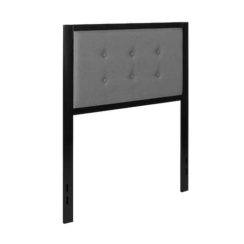 Offex Bristol Metal Tufted Upholstered Twin Size Headboard - Dark Gray